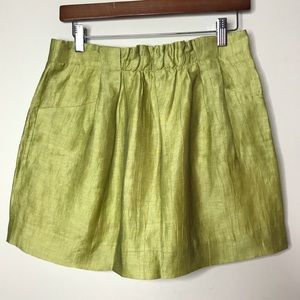 J. Crew Sz 2 Linen fluorescent green mini skirt